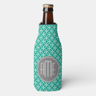 Emerald Geometric Pattern with Monograms Bottle Cooler