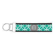 Emerald Geometric Pattern with Monograms Wrist Keychain
