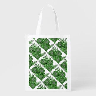 Emerald Gerbera Daisy Flower Bouquet Reusable Grocery Bag
