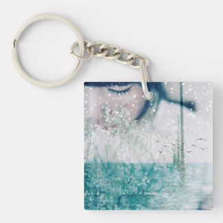 Emerald Girl Green White Ocean double-sided Keychain