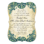"Emerald Gold & Lime Peacock Wedding Invitations 5"" X 7"" Invitation Card"