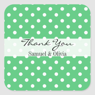 Emerald Gree Square Custom Polka Dotted Thank You Square Sticker