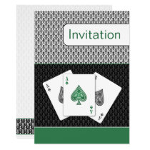 emerald green 3 aces vegas wedding invitation