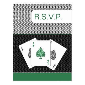 emerald green 3 aces vegas wedding rsvp cards