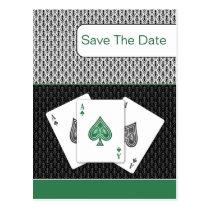 emerald green 3 aces vegas wedding save the date postcard
