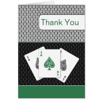 emerald green 3 aces vegas wedding Thank You cards