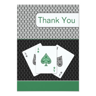 emerald green 3 aces vegas wedding Thank You cards