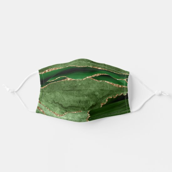 Emerald Green and Gold Agate Pattern Cloth Face Mask