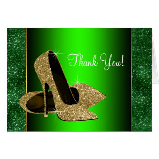 Emerald Green and Gold High Heel Shoes Thank You Stationery Note Card