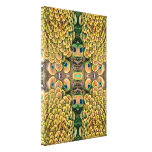 Emerald Green and Gold Peacock Feathers Stretched Canvas Print