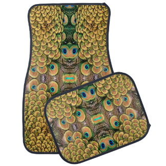 Emerald Green and Gold Peacock Feathers Car Mat