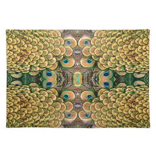 Emerald Green and Gold Peacock Feathers Cloth Placemat