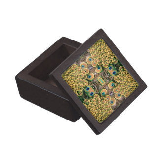 Emerald Green and Gold Peacock Feathers Gift Box