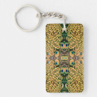 Emerald Green and Gold Peacock Feathers Keychain