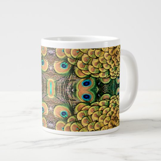 Emerald Green and Gold Peacock Feathers Large Coffee Mug