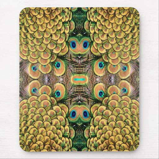 Emerald Green and Gold Peacock Feathers Mouse Pad
