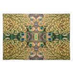 Emerald Green and Gold Peacock Feathers Placemats