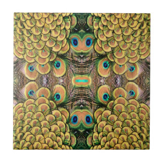 Emerald Green and Gold Peacock Feathers Ceramic Tiles