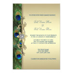 Emerald Green and Gold Peacock Wedding 5x7 Paper Invitation Card