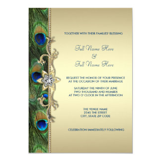 Emerald Green and Gold Peacock Wedding Card