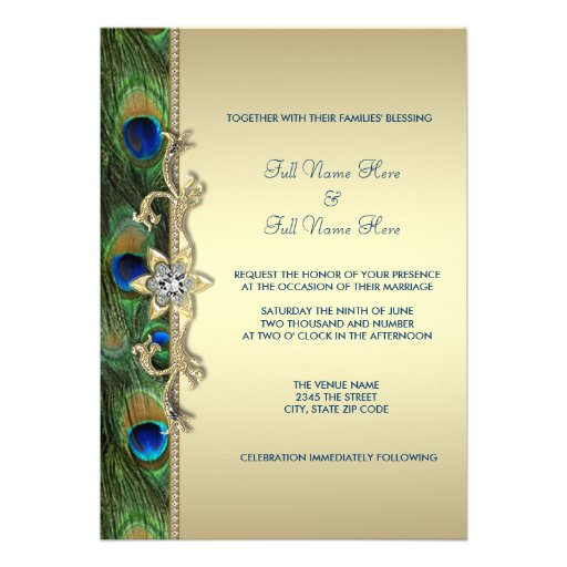 Emerald Green and Gold Peacock Wedding Personalized Invitations