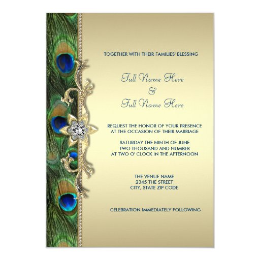 Green and Gold Peacock Wedding 5x7 Paper Invitation Card Zazzle VKmm2hkg