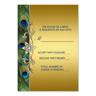 Emerald Green and Gold Peacock Wedding RSVP Card