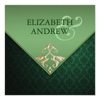 Emerald Green and Gold Square Wedding Invitation