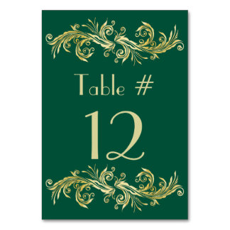 Emerald Green and Gold Tone Wedding Table Number