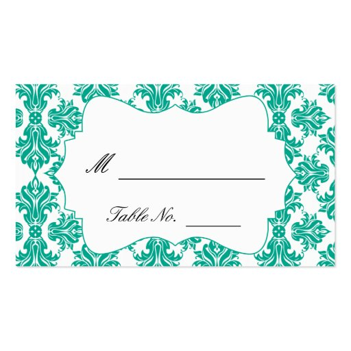Emerald Green and White Damask Wedding Place Cards Business Card Templates