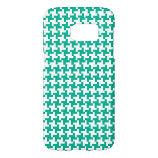 Emerald Green and White Dogtooth Check Samsung Galaxy S7 Case