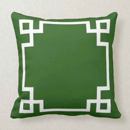 Emerald Green and White Greek Key Pattern Pillow