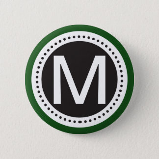 emerald green and white Monogram Button