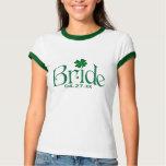 Emerald Green and White Shamrock Bride T-shirt
