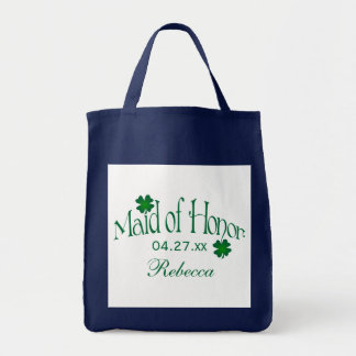 Emerald Green and White Shamrock Maid of Honor Bag