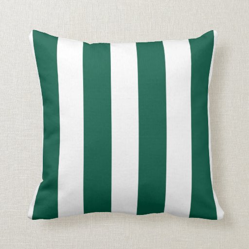 Emerald Green and White Striped Throw Pillow