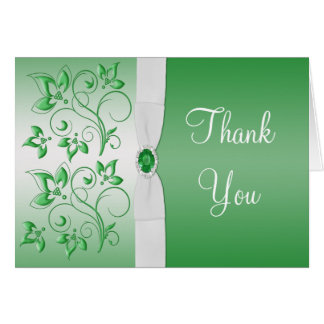Emerald Green and White Thank You Card Greeting Cards
