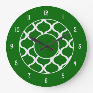Emerald Green and White Wall Clock