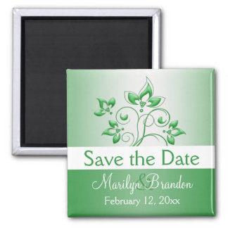 Emerald Green and White Wedding Favor Magnet