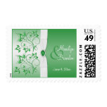 Emerald Green and White Wedding Stamp