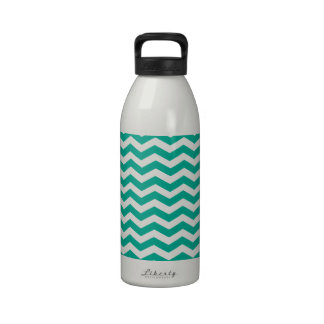 Emerald Green And White Zigzag Chevron Pattern Reusable Water Bottle