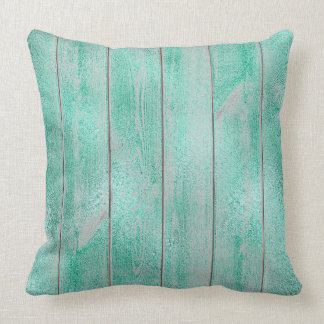 Emerald Green Aqua Glam Metallic Wood Cottage Home Throw Pillow