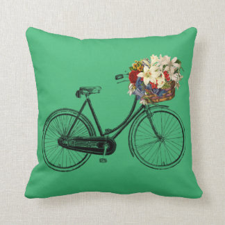Emerald Green bicycle flower   Throw pillow