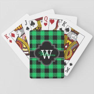 Emerald Green Black Buffalo Check Plaid 1IQN Playing Cards