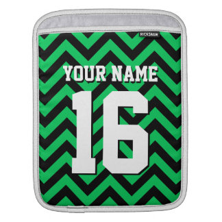 Emerald Green Black Chevron Sports Jersey iPad Sleeve