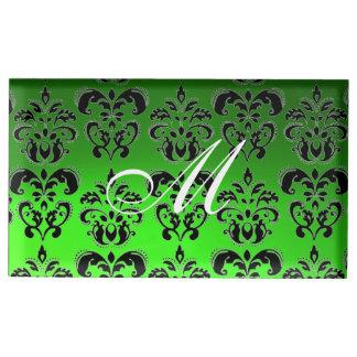 EMERALD GREEN BLACK,WHITE CLASSY  DAMASK MONOGRAM TABLE CARD HOLDER
