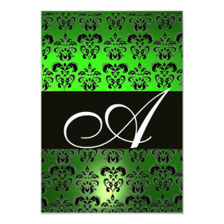 EMERALD GREEN BLACK WHITE DAMASK MONOGRAM RSVP PERSONALIZED ANNOUNCEMENTS
