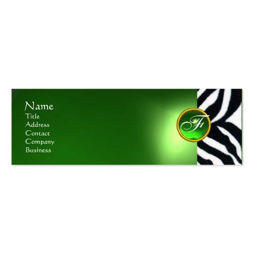 EMERALD GREEN BLACK WHITE ZEBRA FUR MONOGRAM Double-Sided MINI BUSINESS CARDS (Pack OF 20)