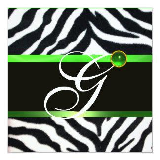 EMERALD GREEN BLACK WHITE ZEBRA FUR MONOGRAM CARD
