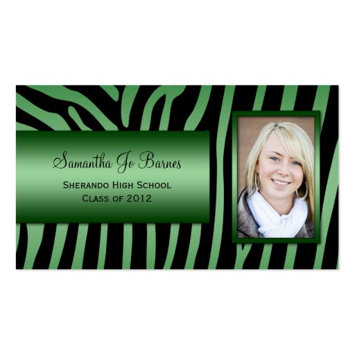 Emerald Green Black Zebra Photo Graduation Handout Double-Sided Standard Business Cards (Pack Of 100)